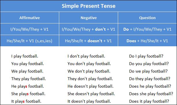 Rumus, dan Contoh Simple Present Tense - Belajar Bahasa